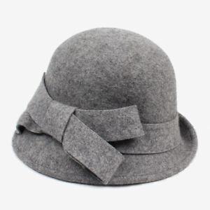Women's Beautiful Wool Cloche Bucket Hat with Bow
