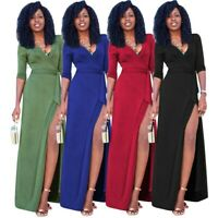 Women's Sexy Slim V-Neck Dress Bodycon Ball Gown Party Evening Maix Dresses