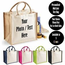 New Custom Printed Personalised Midi Jute Tote Canvas Holiday Shopping Gift Bag
