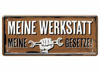 Blechschild lustige Sprüche Schild Werkstatt Männer Gesetz Regeln Garage 28x12cm