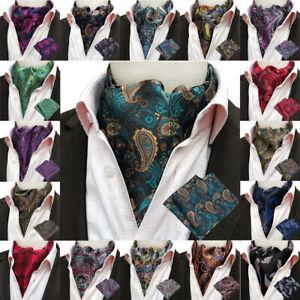 Men Colorful Floral Paisley Jacquard Handkerchief Cravat Ascot Scarf Tie Set