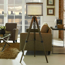 Modway Fortune Pine Wood and Steel Floor Lamp in Antique Silver