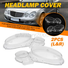 For Mercedes W211 E Class 2002-2008 Pair Headlight Lenses Headlamp Cover Lens