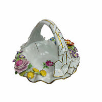 Antique Von Schierholz Dresden White Porcelain China Hand Painted Basket Germany