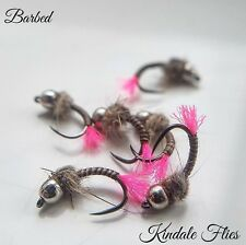 Pink Tag Quill Nymph Barbed Size 16 (Set of 3) Fly Fishing Flies Grayling beads
