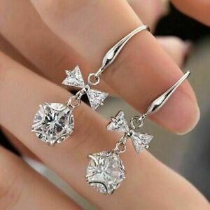 Elegant 925 Silver Jewelry Stud Earrings for Women Cubic Zircon Wedding Gifts