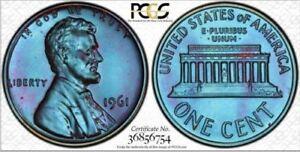 1961 1C PCGS PR66BN Lincoln Saphire Toned & TrueView -RicksCafeAmerican.com