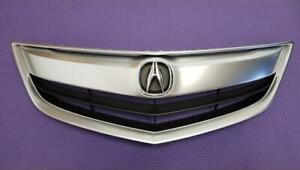 Fit ACURA ILX / HYBRID 2013-2015 Front Upper Satin Nickel Grill Grille w/ Emblem