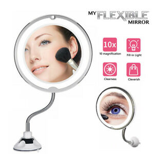10X Magnifying Makeup Mirror With LED Light Cosmetic 360° Rotation Flexible AU