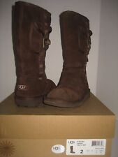 UGG Australia Retro Cargo Tall Knee High Big Kid Girls Youth US 2 Brown Boots BX