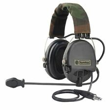 AIRSOFT TOMTAC SORDIN HEADSET MIC BOOM RADIO MSA DESIGN WOODLAND / BLACK