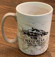 Pikes Peak Colorado Granite Look Embossed Souvenir Coffee Mug 18 oz