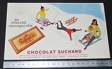 BUVARD 1950 CHOCOLAT SUCHARD EXCELLENCE ENFANTS AU SKI LUGE