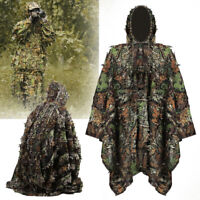 Outdoor 3D Leaves Camouflage Ghillie Suit Poncho Cloak Stealth Hunting Jungle US