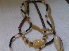 Vintage Hippie Lot of Cream Cord with Seashell Pendant Brown Wood Bead Seashell