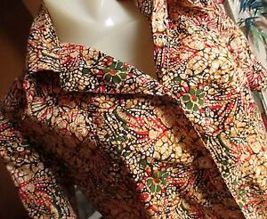 LARGE True Vtg 60's Womens WILD PRINT COTTON COLLARED HAND MADE TOP SHIRT
