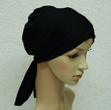Head scarf for hair loss, chemo hat, black tichel, head snood, surgical cap