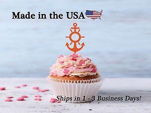 Anchor Cupcake Topper, Anchor Decor, Anchor with Ship Wheel, Birthday, LCT1012