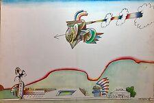 "Saul Steinberg Color Lithograph, ""Navajo Motel"""