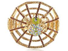 Creepy Halloween Topaz Crystal Rhinestone Aurora Spider Web Bracelet Bangle Cuff