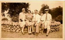 Old Vintage Antique Photograph People Sitting On Stone Wall Flapper Hats
