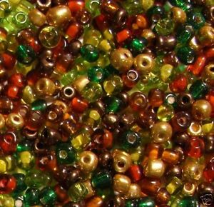 SB1913 Golden Copper Mix of Browns, Golds & Greens 6/0 Glass Seed Bead Mix 1oz