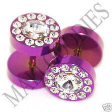 0362 Fake Cheaters Faux Illusion Ear Plugs 16G Studs Hot Pink Clear Flower 00G