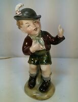 Vtg WA Bavaria Pottery Porcelain Dutch German Boy Figurine Lederhosen Feather