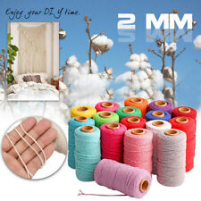 2mm Single Twisted Pipping Cotton Cord String Rope DIY Sewing Macrame Tool Craft