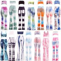 New 2-piece Set Tie Dye Flared Trousers High Waist Wide Leg Long Pants Trousers