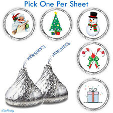 (108) Christmas Party Favors Fits Hershey Kiss Candy Stickers Stocking Stuffers