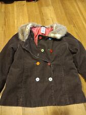 Gymboree Cupcake Cutie Brown Corduroy Coat Jacket Furr Lined Collar Size 7