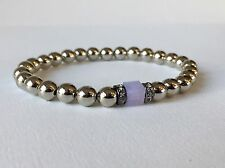 Stainless Steel Beaded Bracelet PINK OPAL Custom Sizes Stacking Stretch