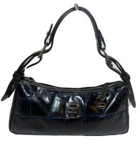 Dooney & Bourke Croc Embossed Leather Shoulder Handbag Navy Black Classic Boho
