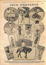Jeux d'Enfants Tricycle Ballon Badminton Saut à la Corde Poney Marelle WWI 1916