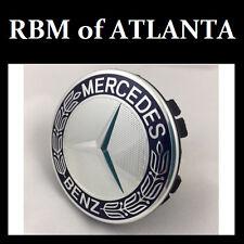 Genuine Mercedes Benz Blue Laurel Wreath Wheel Center Caps (Set of 4)