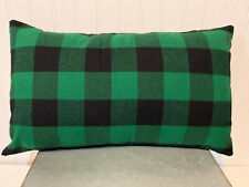 12 x 20 Lumbar Accent Flannel Pillow Cover - Green and Black Buffalo Plaid