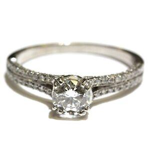 GIA certified 18k white gold 1.20ct round diamond engagement ring 3.4g 9