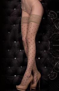Ballerina 325 Luxury Elegant Polka Dot Stockings Hold Ups Lace Top Skin Nero
