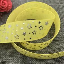 5yards 25mm print Five stars Hot silver Grosgrain Bow Ribbon Hair Sewing yellow