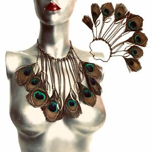Mujeres Joyería 925 Plata Oro Grueso Cadena Pechera Collar Colgante Gargantilla De Plumas