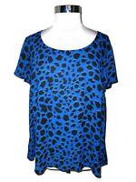 TORRID Plus Sz 0 0X Blouse Shirt Top Blue Black Animal Print Sheer Short Sleeve
