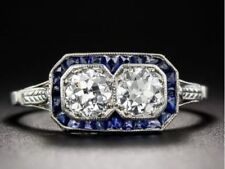 925 Sterling Silver Art Deco Twin Diamond & Sapphire Engagement Wedding Ring