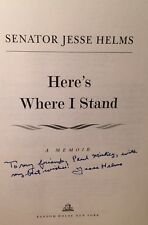 Inscribed SIGNED JESSE HELMS Memoir 1st Ed NC Senator Here's Where I Stand