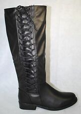 Journee Collection Cinch Women's Round Toe Side-lace Black Boot US Shoe Size 9