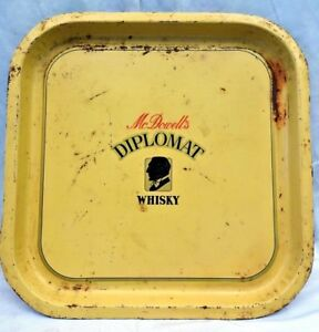 OLD MCDOWELL DIPLOMAT WHISKY ADVERTISING VINTAGE TIN TRAY GENUINE COLLECTIBLE #9