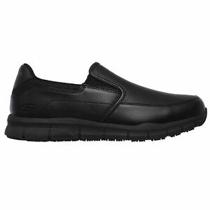 Skechers Men's 77157 Nampa Groton Memory Foam Slip Resistant Black Work Shoes