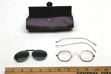 Vintage Granny Wire Rim Eye Glasses Hexagonal+Clip On Sunglass+Leather Case Used