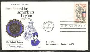 US SC # 1369 American Legion FDC.  Cachet Craft