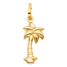 Hollow Small Pendant Charm Free Chain 14k Real Yellow Gold Palm Tree